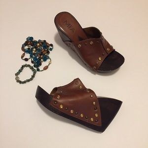 Mia Wood and Studded Leather Wedges